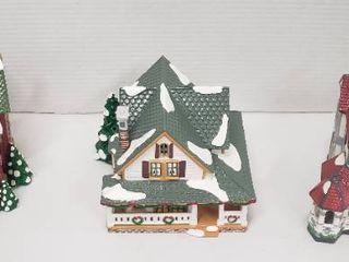 3 Department 56 Ceramic Snow Village Homes w lights