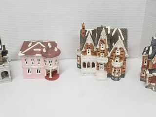 4 Department 56 Ceramic SnowHouse Series Village Homes w lights