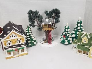 2 Department 56 Ceramic SnowHouse Series Village Homes w lights  Tree House and 2 Set of Fir Trees w Red Birds