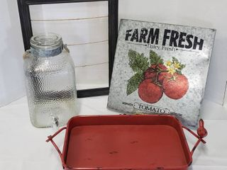 Kitchen Decor   Glass Beverage  Metal Serving Tray  missing one bird  and Wall Decor