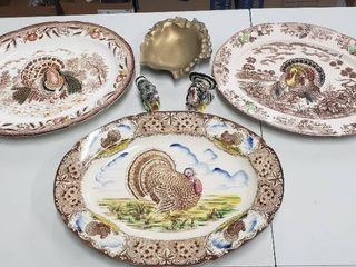 3 Colorful Turkey Platters  1 Maruta Ware Japan   2 Unmarked  Turkey Salt  Pepper and Metal Gold Grapes Ashtray