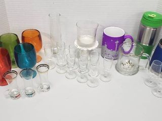 Sets of Glass Cordials  Plastic Colored Wine Glasses and Hot Beverage Mugs