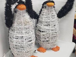Set of 2 lighted Penguins   both work