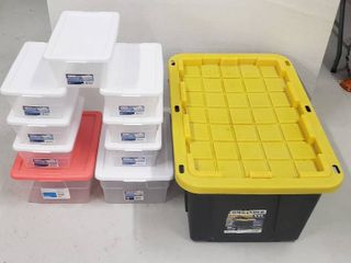 10 Totes   1 Commander XXl 27 Gals   lid cracked one end   2  16 Qts  totes  and 7 Shoebox size Totes