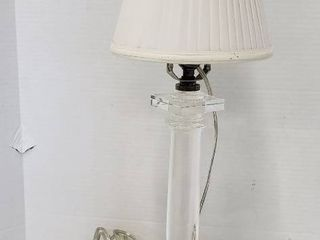 3 Way Crystal Pillar Base Table lamp   24 5 in  tall   works