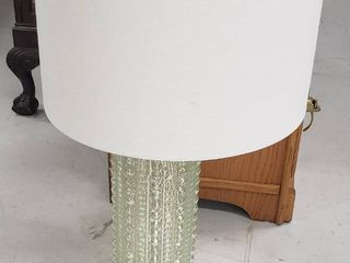 Glass Base lamp w Shade   broken light socket   works   30 in  tall