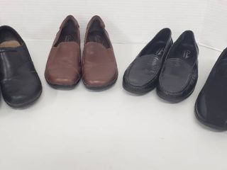 4 Pairs of ladies Shoes  Size 8 5 M   Clark s   leather
