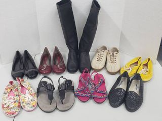 9 Pairs of ladies Shoes Boots Sandals  Size 8 5 M   Various Brands   Materials