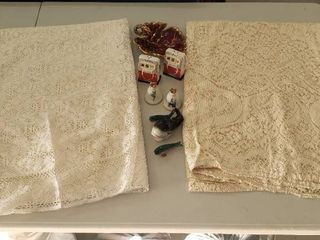 2 lace Table Cloths   Oval Rectangular  and Salt Peppers Sets