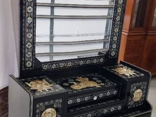 Oriental Inlaid Mother of Pearl Vanity   4 Drawers and 2 Cabinets   Chest  44 5 x 20 x 32 in  tall Mirror  38 5 x 43 5 in    Overall Height  74 5 in  tall