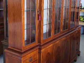 Very large 2 Piece 6 Door Inlaid Wood lighted Hutch   89 x 16 x 89 in  tall   includes one key   Crown Finale Removable   one handle on lower left cabinet door missing