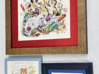 3 Embroidered Needlework Framed Decor  Cats at Play  Bear in Bathroom and Bathroom Instructions