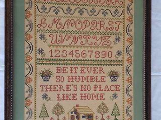 Vintage Embroidered Framed Sampler   19 5 x 25 5 in  tall