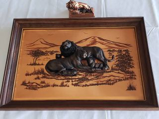 3D lions on Framed Copper Background and lions Club Figurine