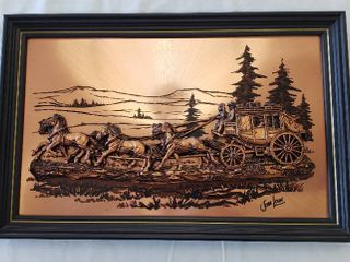 John louw 3D Relief Stagecoach on Framed Copper Background   20 x 13 in