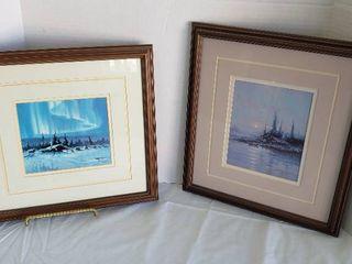 2 Framed Signed Prints by Scott McDaniel   13 x 15 in  each