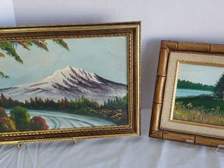 2 Framed Oil Paintings   Mountain  18 x 12 in  and House  12 x 10 in