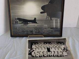 2 Vintage Military Photos   one framed   Planes  18 x 15 in