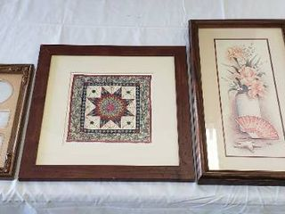 4 Wood Frames   2 with Prints