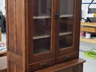 Antique large Ornate Kitchen Hutch   One Piece   2 Glass Doors  3 Drawers and 2 Door lower Cabinet   No Key   38 5 x 22 x 89 in  tall