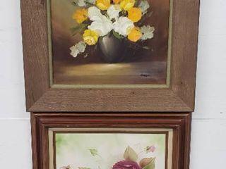 2 Floral Framed Oil Paintings   23 x 27 in  each