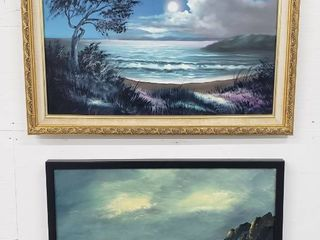2 Framed Beach Scenes Oil Paintings   Gold  27 5 x 22 in    Black  25 x 19 25 in