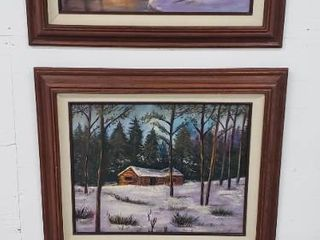 3 Framed Oil Paintings  on canvas  2 Winter Scenes  27 x 23 in  and Oval Tree Reflection  16 x 21 in