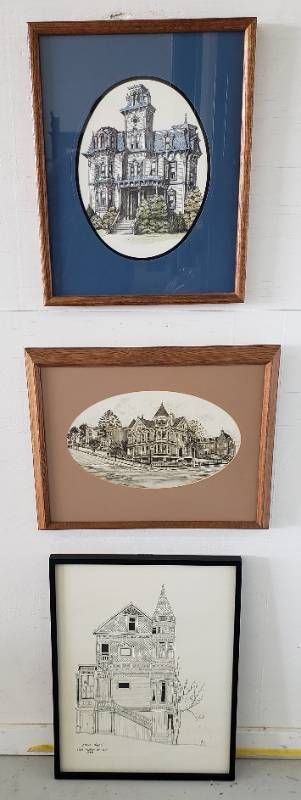3 Framed House Prints  17 x 21 in  to 19 x 25 in