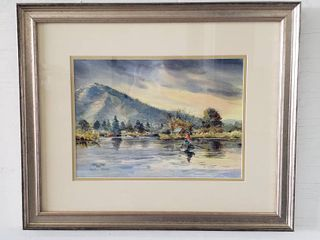 Framed Boat on the lake Watercolor by James l  Reams   22 5 x 18 5 in