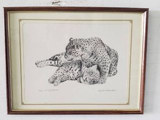Framed Print  Youth Jaguars   Signed   Numbered by Charles Beckendorf   17 x 13 in
