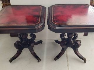 Pair of Vintage leather Top Accent Tables on Casters   26 x 26 x 28 in  tall   slight coloration of water rings