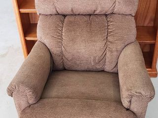 lazyBoy Brown Upholstered Recliner w inSeat  model 11041  however  missing power supply plug   20 in  seat