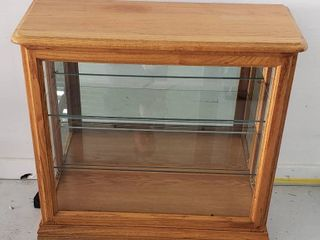Small Display lighted Cabinet  works  w 2 Glass Shelves   2 Side Entry   32 x 13 5 x 30 in  tall