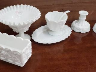 Westmoreland Milk Glass   Grape Design   Compote  Sauce Dish w ladle  Pair of Candlesticks and Biscuit Dish