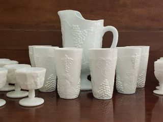 Milk Glass Dishes   Grape Design   Pitcher   6 Tumblers  8 Sorbet Cups and 7 Imperial Cordial Glasses