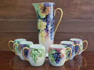 T   V limoges  France  Chocolate Pot w 6 Mugs   Grape Design