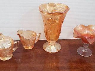Amber Iridescent Iris Herringbone Vase   Cream   Sugar Set and Amber Iridescent Scallop Compote