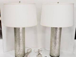 Pair of Glass Base 3 way lamps   Accents made by Ethan Allen   31 in  Tall   both work