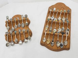 2 Set of Collectible Spoons w 2 Wood Wall Hangers