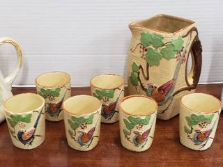 Vintage Ceramic Pitchers and Set of Bird Pitcher   6 Cups