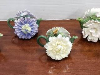Set of 6 Cosmos Floral Ceramic Pitchers   4 in  tall
