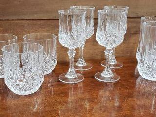 3 Set of Cristal D Arques Crystal Glasses   4 per Set