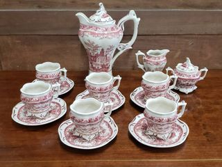 Royal Double lion Tea Set   Made in China  Tea Pot  6 Cups Saucers and Cream Sugar