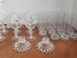 Candlewick Tumblers  Sorbet Dishes and Pair of Candlesticks   Bring Boxes to load Out
