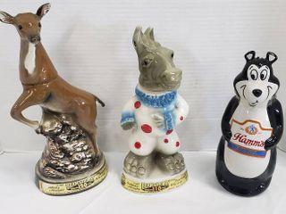 Decanters  Deer  Democratic Donkey and Hamm s Beer Bear