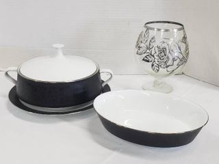 Noritake Japan Mirano  6878 Serving Dishes  4 pieces  and Rose Silver Painted Brandy Snifter