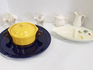 Various Ceramic Service Pieces  Platter  lidded Bowl  Divided Dish  Cream Sugar and Pair Of Candleholders