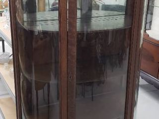 Antique Curved Glass Curio   3 Wood Shelves   no key   34 5 x 14 x 71 5 in  tall