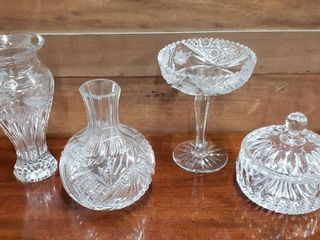 4 Crystal Dishes  Vase  Decanter  Compote and Candy Dish
