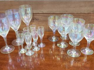 3 Sets of Clear Iridescent Glasses  3 Goblets  6 Wine and 6 Cordial